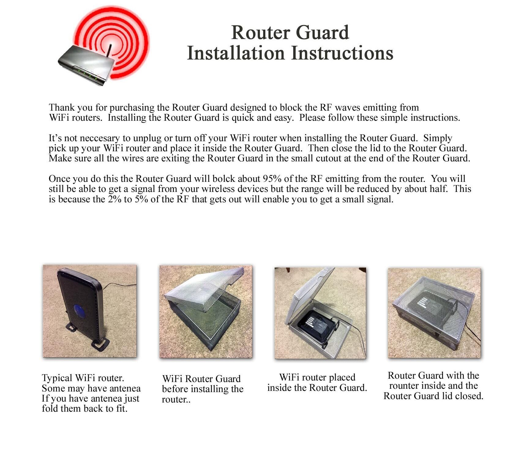 Router Guard Installation Instructions